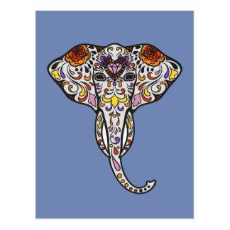 Colorful Folk Art Sugar Skull Magical Elephant Postcard