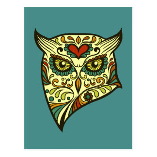 Colorful Folk Art Sugar Skull Magical Owl Postcard