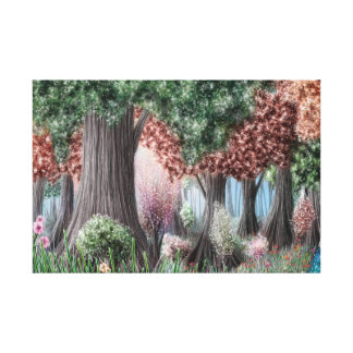 Colorful forest and flowers canvas print