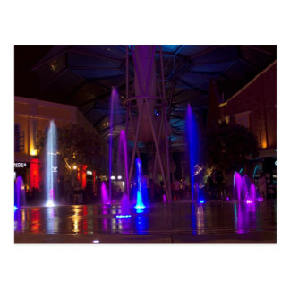 Colorful fountains in Clarke Quay Postcard