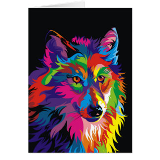 Colorful fox card