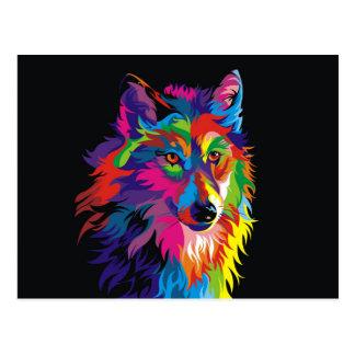 Colorful fox postcard