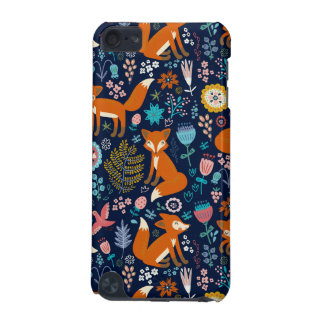 Colorful Foxes & Retro Flowers Pattern iPod Touch (5th Generation) Cases