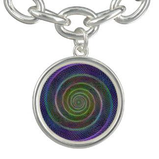 Colorful fractal spiral charm bracelet