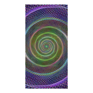 Colorful fractal spiral personalized photo card