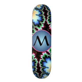 Colorful Fractal with Blue Customizable Monogram Skateboard Decks