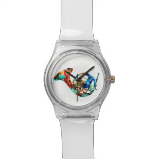 Colorful French Horn on a Clear Watch