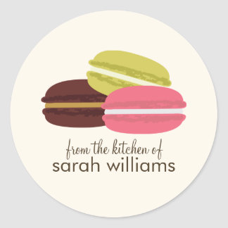 Colorful French Macarons Round Sticker