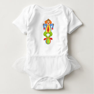 Colorful Friendly Clown Balancing On Ball In Class Baby Bodysuit
