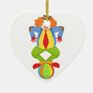 Colorful Friendly Clown Balancing On Ball In Class Ceramic Ornament