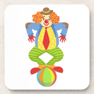 Colorful Friendly Clown Balancing On Ball In Class Coaster