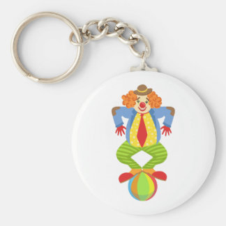 Colorful Friendly Clown Balancing On Ball In Class Keychain