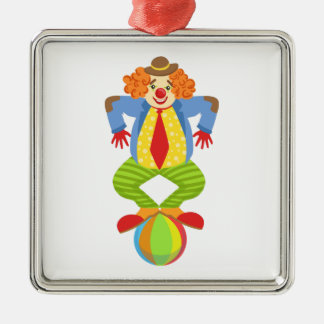 Colorful Friendly Clown Balancing On Ball In Class Metal Ornament