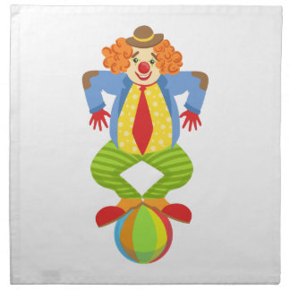 Colorful Friendly Clown Balancing On Ball In Class Napkin