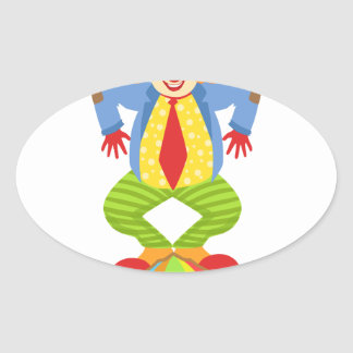 Colorful Friendly Clown Balancing On Ball In Class Oval Sticker