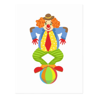 Colorful Friendly Clown Balancing On Ball In Class Postcard