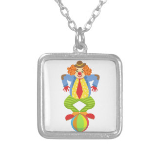 Colorful Friendly Clown Balancing On Ball In Class Silver Plated Necklace