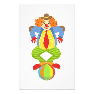 Colorful Friendly Clown Balancing On Ball In Class Stationery