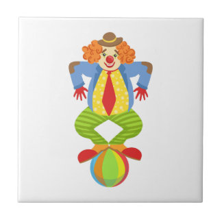 Colorful Friendly Clown Balancing On Ball In Class Tile