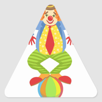 Colorful Friendly Clown Balancing On Ball In Class Triangle Sticker