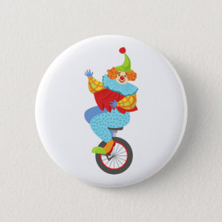 Colorful Friendly Clown Balancing On Unicycle 2 Inch Round Button