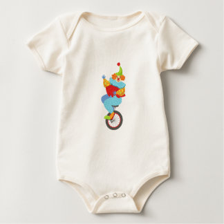 Colorful Friendly Clown Balancing On Unicycle Baby Bodysuit