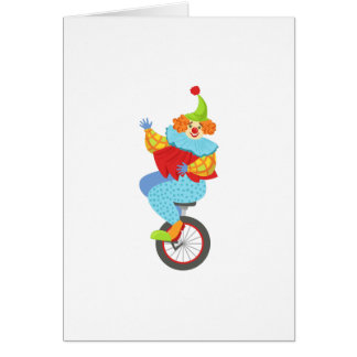 Colorful Friendly Clown Balancing On Unicycle Card