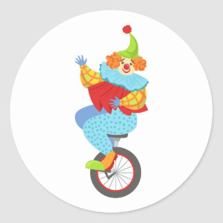 Colorful Friendly Clown Balancing On Unicycle Classic Round Sticker