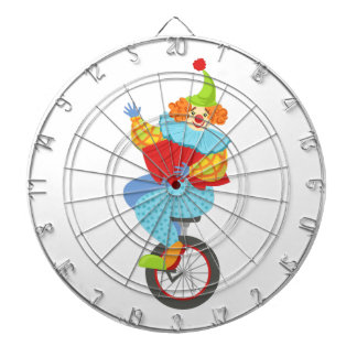 Colorful Friendly Clown Balancing On Unicycle Dartboard