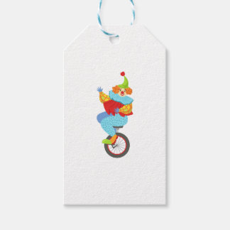 Colorful Friendly Clown Balancing On Unicycle Gift Tags