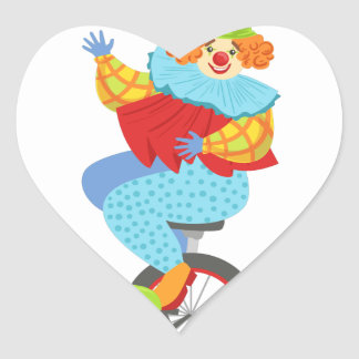 Colorful Friendly Clown Balancing On Unicycle Heart Sticker