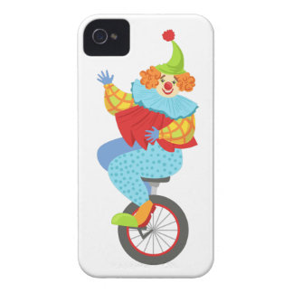 Colorful Friendly Clown Balancing On Unicycle iPhone 4 Case-Mate Case