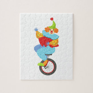 Colorful Friendly Clown Balancing On Unicycle Jigsaw Puzzle