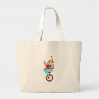 Colorful Friendly Clown Balancing On Unicycle Large Tote Bag