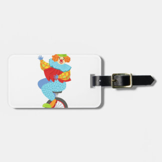 Colorful Friendly Clown Balancing On Unicycle Luggage Tag