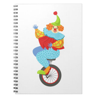 Colorful Friendly Clown Balancing On Unicycle Notebooks