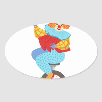 Colorful Friendly Clown Balancing On Unicycle Oval Sticker