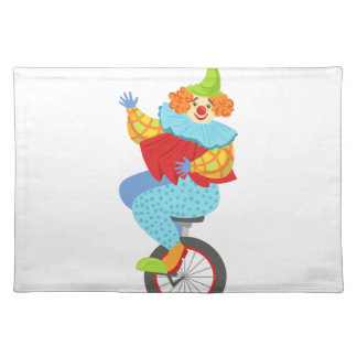 Colorful Friendly Clown Balancing On Unicycle Placemat