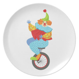 Colorful Friendly Clown Balancing On Unicycle Plate
