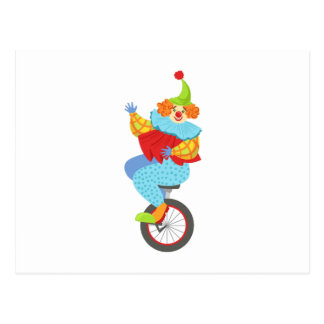 Colorful Friendly Clown Balancing On Unicycle Postcard