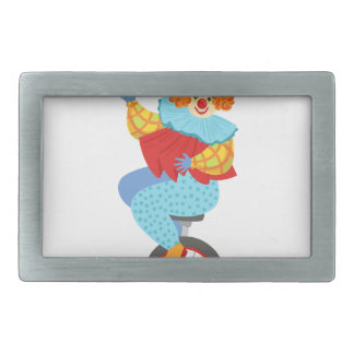 Colorful Friendly Clown Balancing On Unicycle Rectangular Belt Buckle