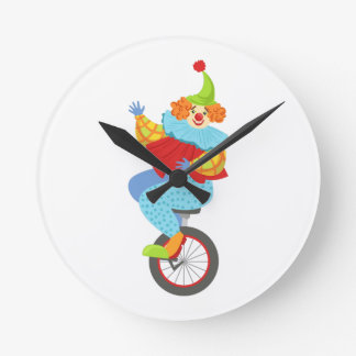Colorful Friendly Clown Balancing On Unicycle Round Clock