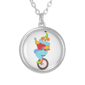 Colorful Friendly Clown Balancing On Unicycle Silver Plated Necklace