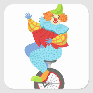 Colorful Friendly Clown Balancing On Unicycle Square Sticker
