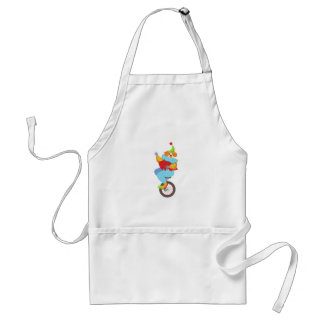 Colorful Friendly Clown Balancing On Unicycle Standard Apron