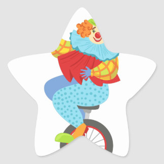 Colorful Friendly Clown Balancing On Unicycle Star Sticker