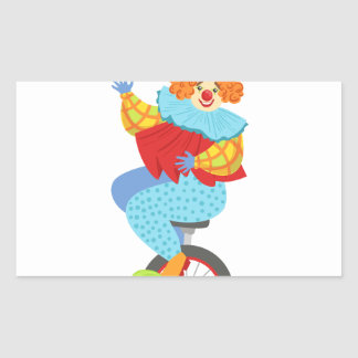 Colorful Friendly Clown Balancing On Unicycle Sticker