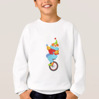 Colorful Friendly Clown Balancing On Unicycle Sweatshirt