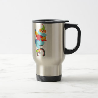 Colorful Friendly Clown Balancing On Unicycle Travel Mug