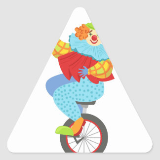 Colorful Friendly Clown Balancing On Unicycle Triangle Sticker
